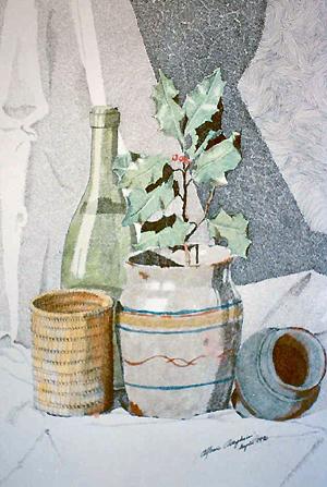 1990 Natura morta con bottiglia e portapenne in vimini, chine su carta 35x50,