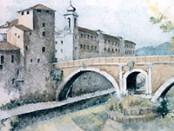1995 ROMA, l'Isola Tiberina, grafica con inchiostri di china su tel rghini