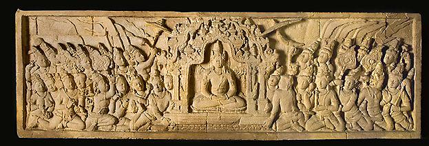 Calco di un rilievo del Borobudur